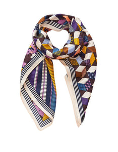 Inouitoosh silk modal scarf, Yumiko is a gorgeous design of tumbling blocks and retro floral print bisected by a bold stripe, in mustard, navy and plum.
