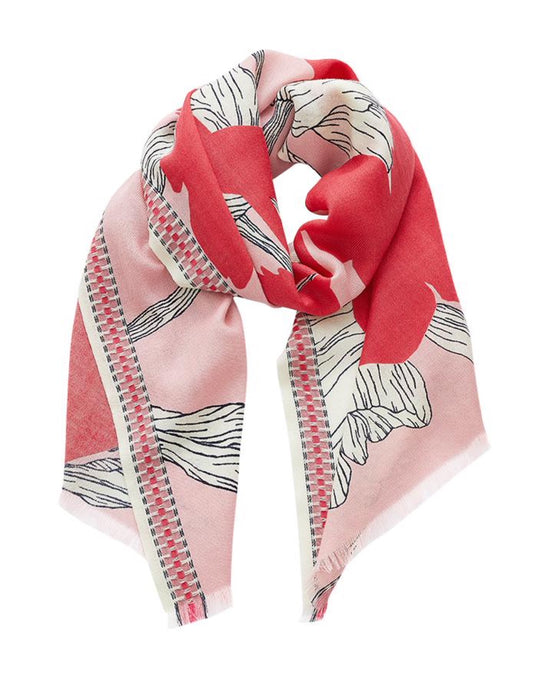 Inouitoosh Dahlia scarf, pure wool, red pot plant agains line drawn floral on pale pink, gorgeous Inouitoosh braid border.