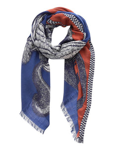 Inouitoosh Germain pure wool scarf, featuring a tiger, squirrel, porcupine, monkey and birds in navy and white with a rust ground.