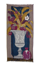 Load image into Gallery viewer, Inouitoosh Stanislas scarf in wool, cashmere and silk, depicting a cornucopia of fruit and leaves in an urn, shades of deep pomegranate, mustard and white with blue background.