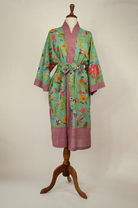Cotton voile kimono robe dressing gown in aqua bird print with pink trim.