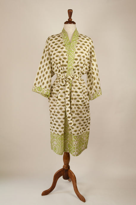 Cotton voile kimono robe dressing gown in cream with a small geometric fan block print pattern and green and cream trim.