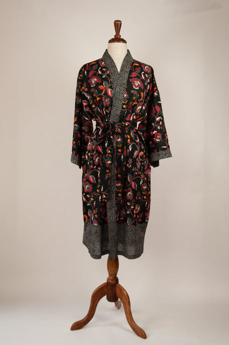 Cotton voile kimono robe dressing gown in black with a floral print and black and white spot trim.
