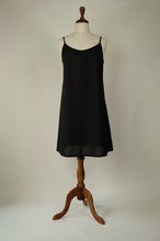 Load image into Gallery viewer, Ladies pure cotton voile full slip or petticoat with adjustable straps in black.