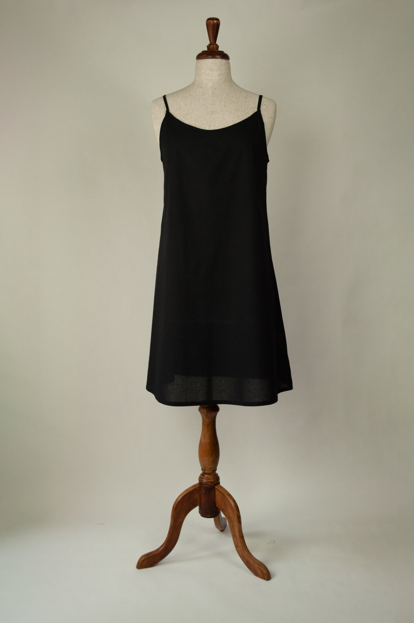 Ladies pure cotton voile full slip or petticoat with adjustable straps in black.