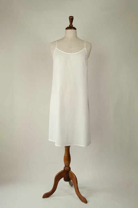 Ladies pure cotton voile full slip or petticoat with adjustable straps in white.