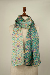 JH Silk spot scarf - smoky blue