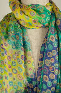 JH Silk spot scarf - turquoise multi