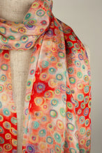 Load image into Gallery viewer, JH Silk spot scarf - red diamond