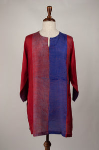 Pure silk shibori dyed silk kurta top in brick red and cobalt blue.