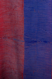 Pure silk shibori dyed silk kurta top in brick red and cobalt blue, fabric detail.