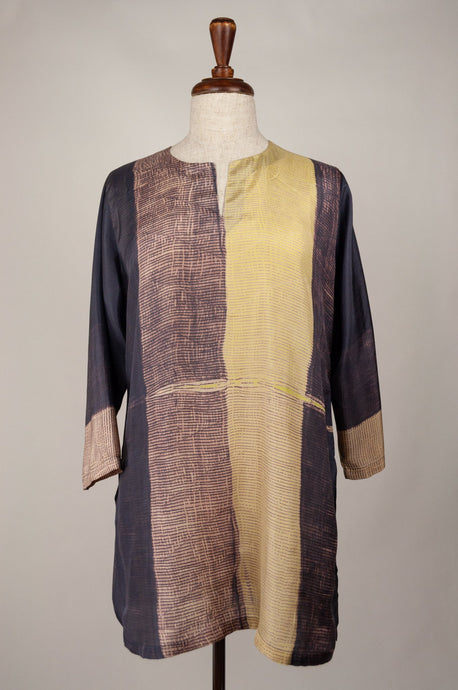Pure silk shibori dyed kurta top in aubergine and citrus yellow.