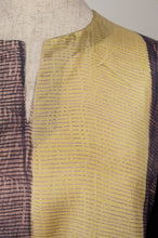 Load image into Gallery viewer, Pure silk shibori dyed kurta top in aubergine and citrus yellow, neck detail.