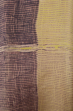 Load image into Gallery viewer, Pure silk shibori dyed kurta top in aubergine and citrus yellow, fabric detail.