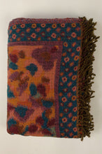 Load image into Gallery viewer, Juniper Hearth reversible pure wool tasseled throwcentral paisley design in saffron, pumpkin & burgundy with petrol blue & aqua accents, and a bold abstract spotted border