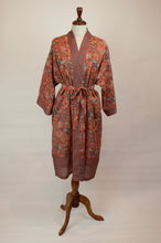 Load image into Gallery viewer, Cotton voile kimono robe dressing gown in a rust red palm print with red and blue matching geometric trim.