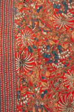 Load image into Gallery viewer, Cotton voile kimono robe dressing gown in a rust red palm print with red and blue matching geometric trim, fabric close up.