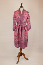 Load image into Gallery viewer, Cotton voile kimono robe dressing gown in a pink floral print and pink and blue geometric trim.