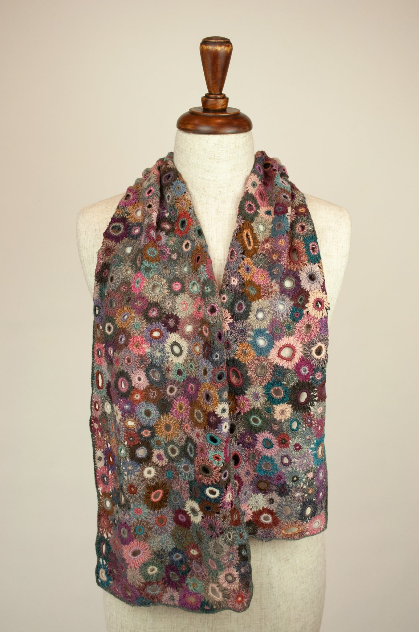 Sophie Digard scarf - Pink and teal flowers