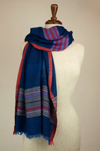 Load image into Gallery viewer, JH Himalayan scarf - blue stripe