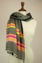 Load image into Gallery viewer, JH Himalayan scarf - charcoal stripe
