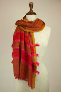 JH Himalayan scarf - copper stripe