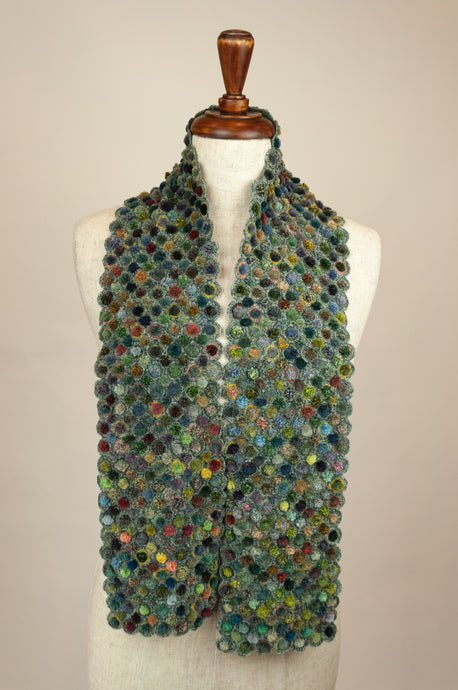 Sophie Digard scarf - Green bobbles