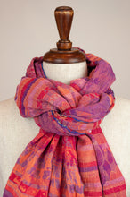 Load image into Gallery viewer, Létol French organic cotton scarf with a striped and floral design in tones of bright pink, cerise, purple and orange.