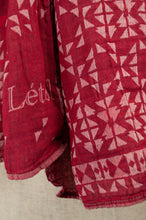 Load image into Gallery viewer, Létol French organic cotton scarf with a simple geometric design of small triangles in crimson, red and silver grey.