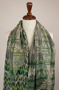 Létol French organic cotton scarf with a striped and floral design in shades of green, highlights of cobalt blue and lime.