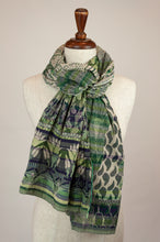 Load image into Gallery viewer, Létol French organic cotton scarf with a striped and floral design in shades of green, highlights of cobalt blue and lime.