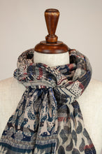Load image into Gallery viewer, Létol French organic cotton scarf with a striped and floral design in classic tones of navy, red and oatmeal.
