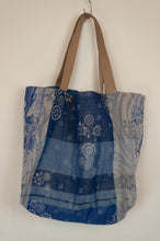 Load image into Gallery viewer, French market bag, reversible tote made from organic cotton in jacquard weave, classic blue floral print and co-ordinating stripes in blue and aqua.