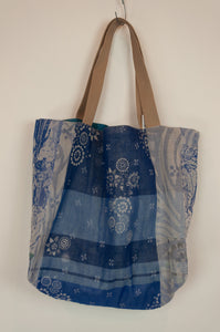 French market bag, reversible tote made from organic cotton in jacquard weave, classic blue floral print and co-ordinating stripes in blue and aqua.