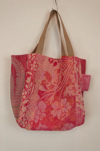 French market bag, reversible tote made from organic cotton in jacquard weave, rose pink floral pattern and co-ordinating stripes.