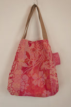 Load image into Gallery viewer, French market bag, reversible tote made from organic cotton in jacquard weave, rose pink floral pattern and co-ordinating stripes.