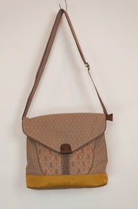 Anna Kaszer canvas crossbody mustard handbag designed in Paris.