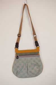 Anna Kaszer canvas crossbody mustard handbag designed in Paris