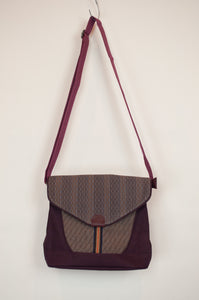 Anna Kaszer canvas crossbody burgundy handbag designed in Paris