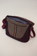 Load image into Gallery viewer, Anna Kaszer canvas crossbody burgundy handbag designed in Paris