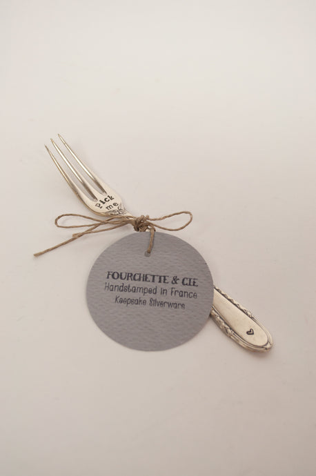 Fourchette et Cie unique handstamped French keepsake silverware, Pick me fork for pickles.