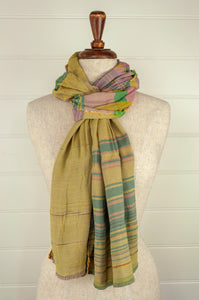 Létol French organic cotton scarf, in pink and yellow stripes with accents in green and turquoise.