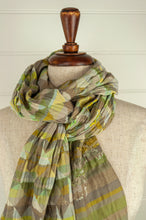 Load image into Gallery viewer, Létol French organic cotton scarf with a geometric Missoni inspired design in shades of mint green, lemon and lime.