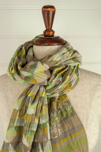 Létol French organic cotton scarf with a geometric Missoni inspired design in shades of mint green, lemon and lime.