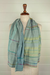 Létol French organic cotton scarf, in sky blue stripes with accents in lime, pink and turquoise.