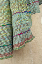 Load image into Gallery viewer, Létol French organic cotton scarf, in sky blue stripes with accents in lime, pink and turquoise.