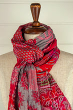 Load image into Gallery viewer, Létol French organic cotton scarf, patterned in shades of rose pink and red on a silver grey background, with lime highlights.