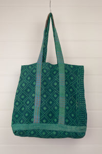 Vintage kantha tote bag, made from recycled cotton saris, in emerald green and indigo.