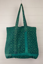 Load image into Gallery viewer, Vintage kantha tote bag, made from recycled cotton saris, in emerald green and indigo.