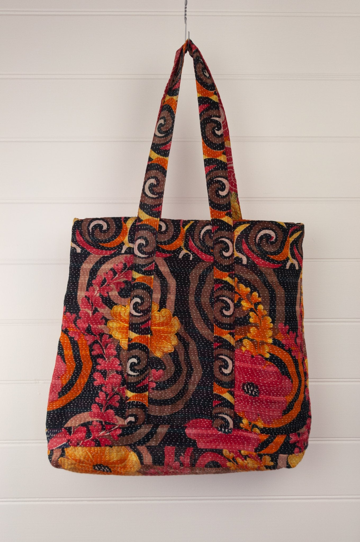 Vintage kantha tote bag, made from recycled cotton saris, in black, red and gold floral.
